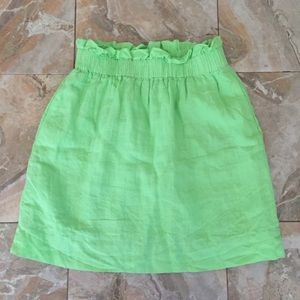 J. Crew Green Cinched Paperbag Skirt